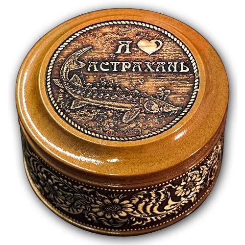 Шкатулка деревянная круглая с накладками из бересты Астрахань-Осетр 70х46