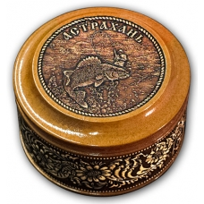 Шкатулка деревянная круглая с накладками из бересты Астрахань-Рыбак 70х46