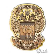 Магнит из бересты вырезной Челябинск-Герб золото