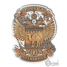 Магнит из бересты вырезной Челябинск-Герб серебро