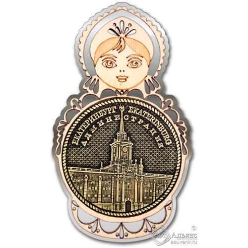 Магнит из бересты Екатеринбург Администрация круг Матрешка серебро