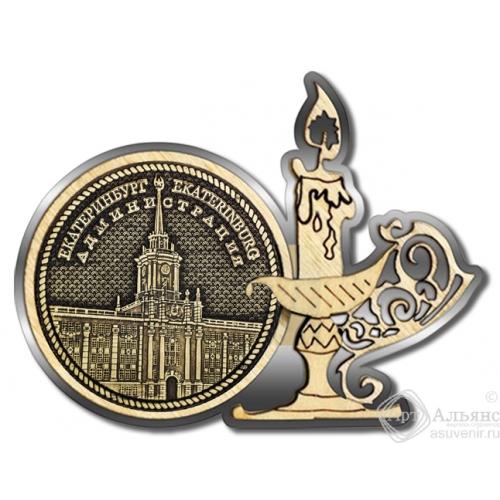 Магнит из бересты Екатеринбург Администрация круг Свечка серебро