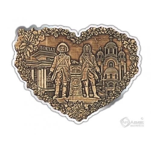 Магнит из бересты вырезной Екатеринбург-Коллаж сердце серебро