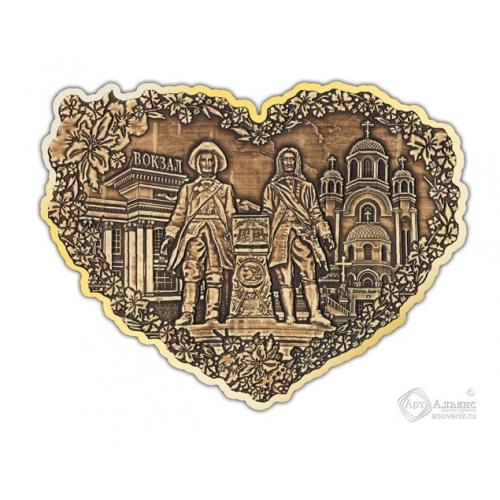 Магнит из бересты вырезной Екатеринбург-Коллаж сердце золото