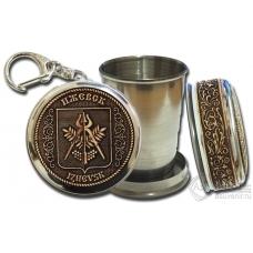 Стопка-брелок Ижевск-Герб с накладкой из бересты