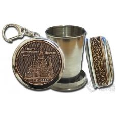 Стопка-брелок Ижевск-Свято-Михайловский собор с накладкой из бересты