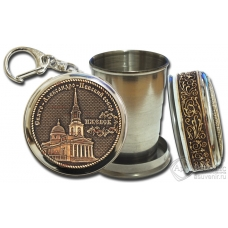 Стопка-брелок Ижевск-Свято-Александро-Невский собор с накладкой из бересты