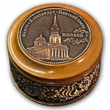 Шкатулка деревянная круглая с накладками из бересты  Ижевск-Свято-Александро-Невский собор 70х46