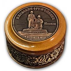 Шкатулка деревянная круглая с накладками из бересты  Ижевск-Оружейники 70х46