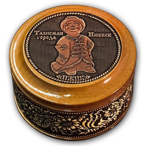 Шкатулка деревянная круглая с накладками из бересты Ижевск-Ижик 70х46