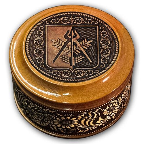 Шкатулка деревянная круглая с накладками из бересты  Ижевск-Герб 70х46