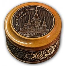 Шкатулка деревянная круглая с накладками из бересты Ижевск-Свято-Михайловский собор