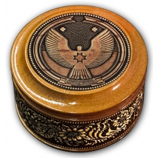 Шкатулка деревянная круглая с накладками из бересты  Удмуртия 70х46