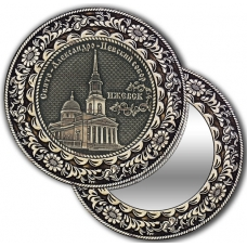 Зеркало круглое без ручки из бересты с берестяной накладкой Ижевск-Свято-Александро-Невский собор