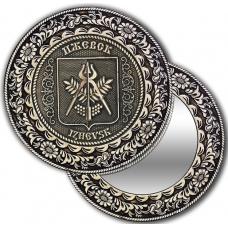 Зеркало круглое без ручки из бересты с берестяной накладкой Ижевск-Герб