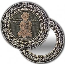 Зеркало круглое без ручки из бересты с берестяной накладкой Ижевск-Ижик
