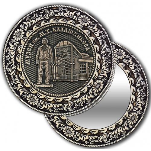 Зеркало круглое без ручки из бересты с берестяной накладкой Ижевск-Музей им М. Т. Калашникова