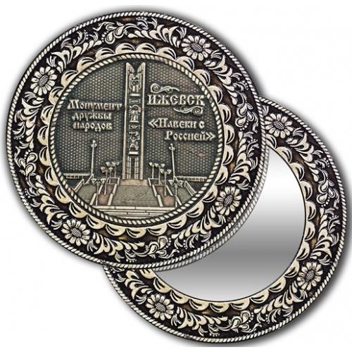 Зеркало круглое без ручки из бересты с берестяной накладкой Ижевск-Монумент дружбы народов