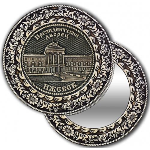 Зеркало круглое без ручки из бересты с берестяной накладкой Ижевск-Президентский дворец