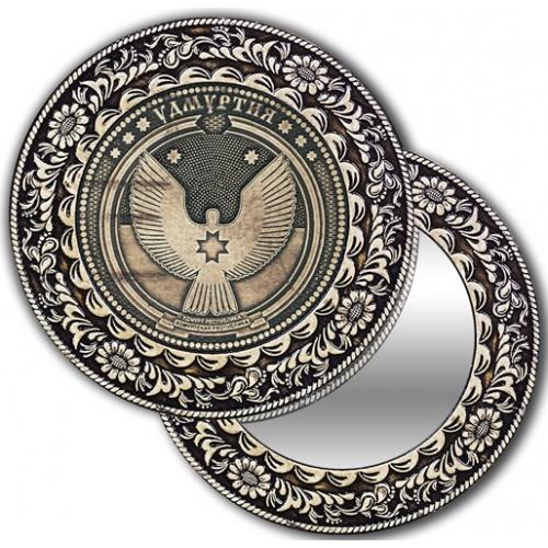Зеркало круглое без ручки из бересты с берестяной накладкой Удмуртия