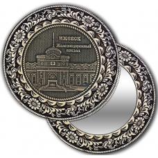 Зеркальце из бересты с берестяной накладкой Ижевск-ЖД вокзал