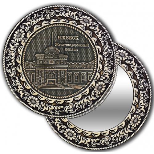Зеркало круглое без ручки из бересты с берестяной накладкой Ижевск-ЖД вокзал