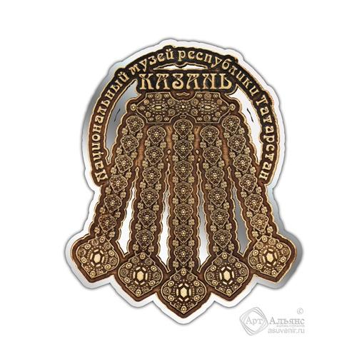 Магнит из бересты вырезной Казань-Ожерелье серебро