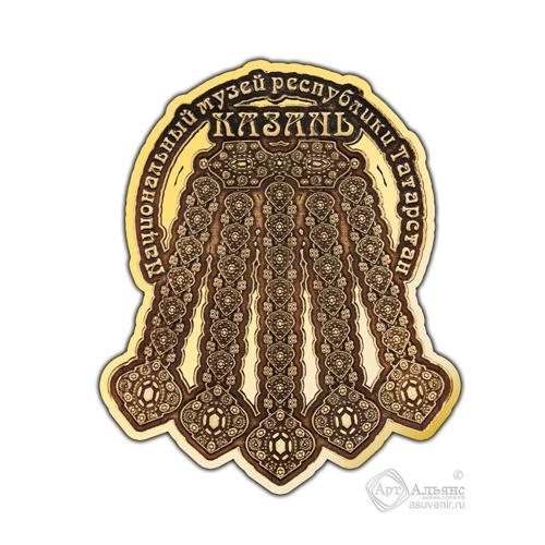 Магнит из бересты вырезной Казань-Ожерелье золото