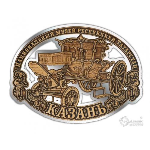 Магнит из бересты вырезной Казань-Карета серебро