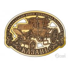 Магнит из бересты вырезной Казань-Карета золото