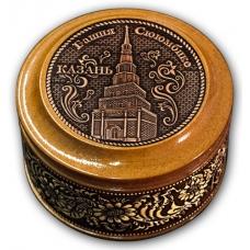 Шкатулка деревянная круглая с накладками из бересты  Казань-Башня Сююмбике