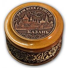 Шкатулка деревянная круглая с накладками из бересты  Казань-Храм всех религий