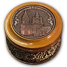 Шкатулка деревянная круглая с накладками из бересты  Казань-Петропавловский кафедральный собор