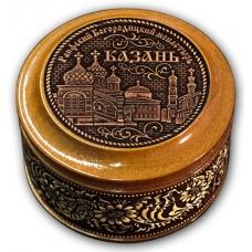 Шкатулка деревянная круглая с накладками из бересты  Казань-Раифский Богородицкий монастырь