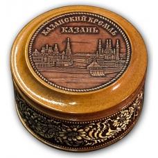 Шкатулка деревянная круглая с накладками из бересты  Казань-Казанский кремль
