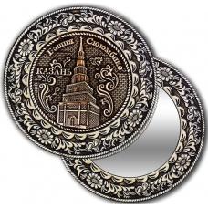 Зеркало круглое без ручки из бересты с берестяной накладкой Казань-Башня Сююмбике