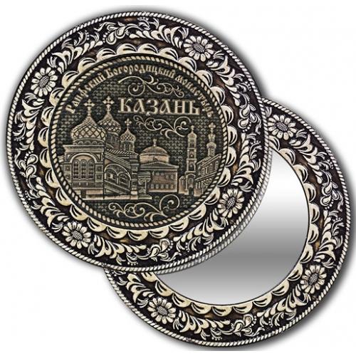 Зеркало круглое без ручки из бересты с берестяной накладкой Казань-Раифский Богородицкий монастырь