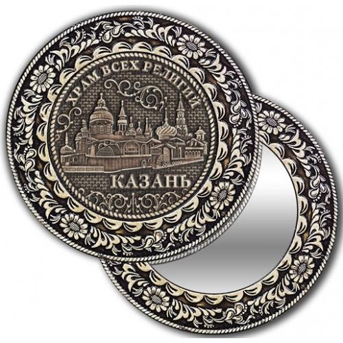 Зеркало круглое без ручки из бересты с берестяной накладкой Казань-Храм всех религий