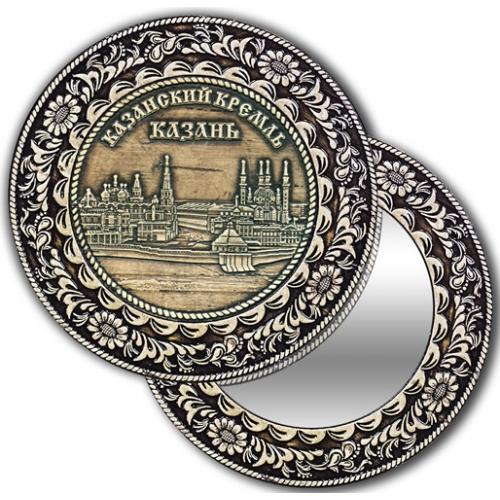 Зеркало круглое без ручки из бересты с берестяной накладкой Казань-Казанский кремль
