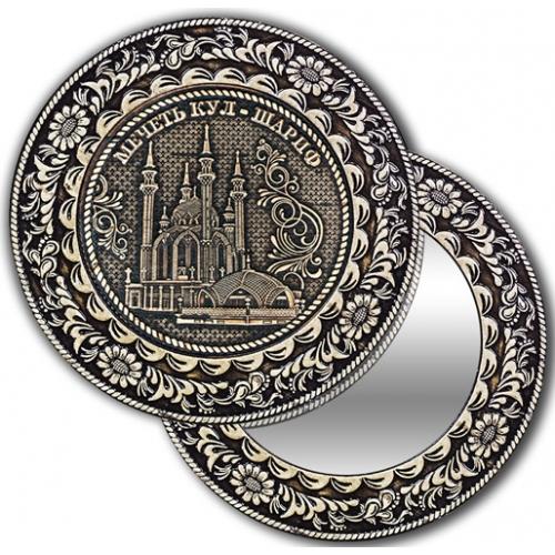 Зеркало круглое без ручки из бересты с берестяной накладкой Казань-Мечеть Кул-Шариф