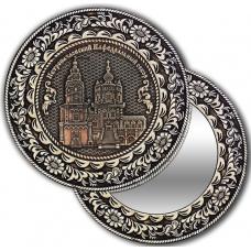 Зеркало круглое без ручки из бересты с берестяной накладкой Казань-Петропавловский кафедральный собор