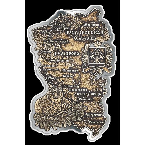 Магнит из бересты вырезной Карта Кемеров ской области серебро