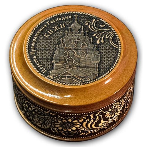 Шкатулка деревянная круглая с накладками из бересты Кижи-Церковь Преображения Господня 70х46
