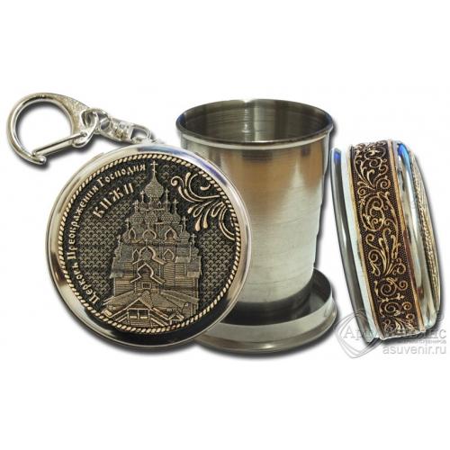 Стопка-брелок Кижи-Церковь Преображения Господня с накладкой из бересты