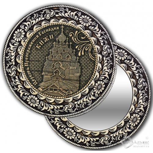 Зеркало круглое без ручки Кижи-Церковь Преображения Господня