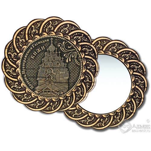 Зеркало из бересты Вернисаж без ручки Кижи-Церковь Преображения Господня