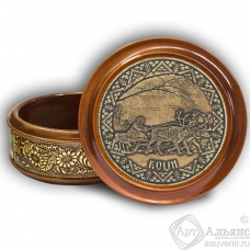 Шкатулка деревянная круглая с накладками из бересты Коми-погонщик 105х49
