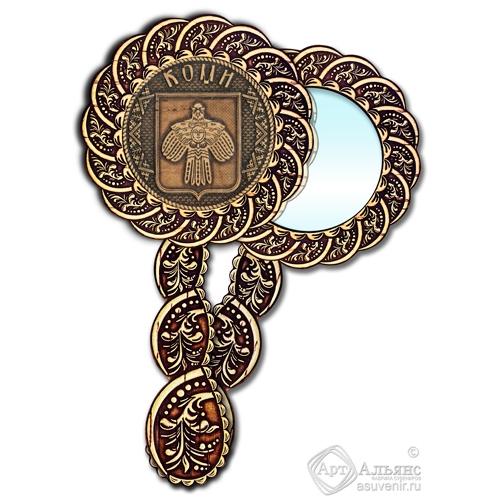 Зеркало из бересты Вернисаж с ручкой Коми-герб
