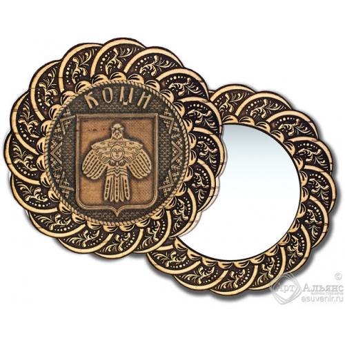 Зеркало из бересты Вернисаж без ручки Коми-герб