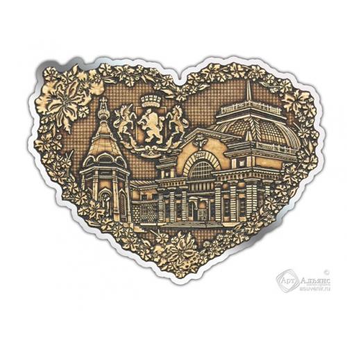 Магнит из бересты вырезной Красноярск-Коллаж сердце серебро